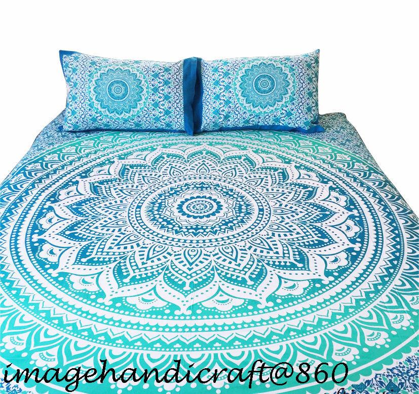 Single Queen Size Bed Quilt Doona Duvet Cover Set Elephant Mandala