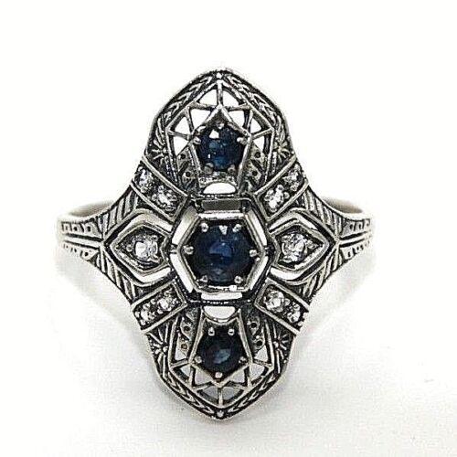 Ring  Saphir /& Weiß Topas Saphire  925 Sterling Silber ANTIK STYLE