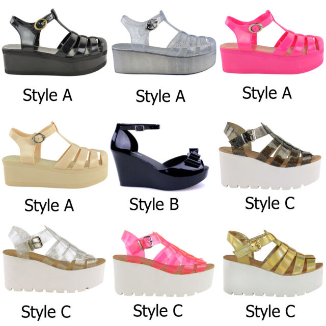 LADIES WOMENS PLATFORM WEDGE HIGH HEEL JELLY SHOES RETRO GLADIATOR SANDALS SIZE