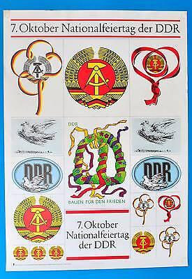 Ddr Plakat Poster 1367 | 7. Oktober 1987 Nationalfeiertag | 87 X 61 Cm Original Feines Handwerk