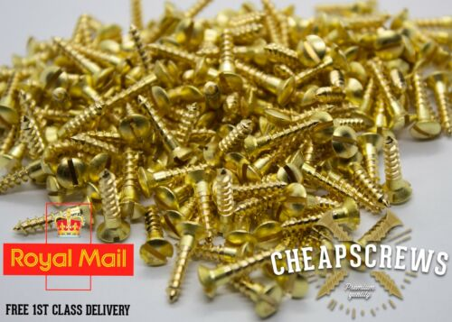 4x5//8 3x16mm Solid Brass Screw Slotted Raised Head Countersunk Wood Screws