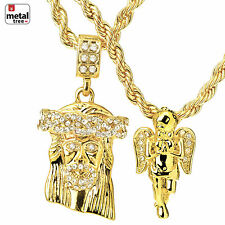 "New Hip Hop Mini Jesus & Angel Pendant 24"" & 30"" Rope Chain Combo MHC 02 G"