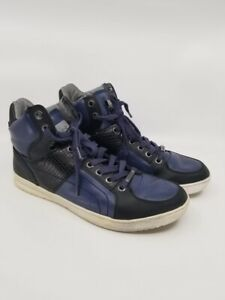 GUESS-Mens-Shoes-GM-Trippy-High-Top-Athletic-Sneakers-Black-Blue-Size-11-M