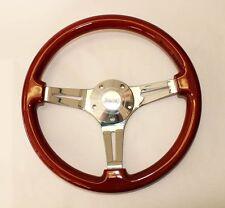 "Jeep Wrangler YJ CJ Cherokee Wood Steering Wheel 14"" with Jeep Center cap"