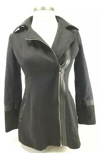 Guess Los Angeles Black Wool Blend Ladies Peacoat Style Coat Sz Medium