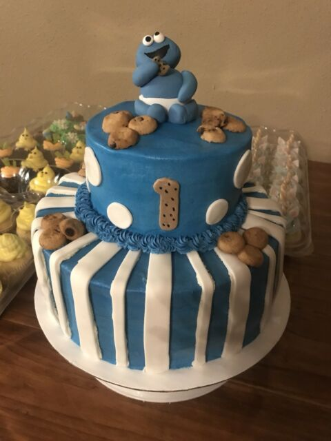 Edible Baby Cookie Monster Cake Topper Sesame Street Party Birthday