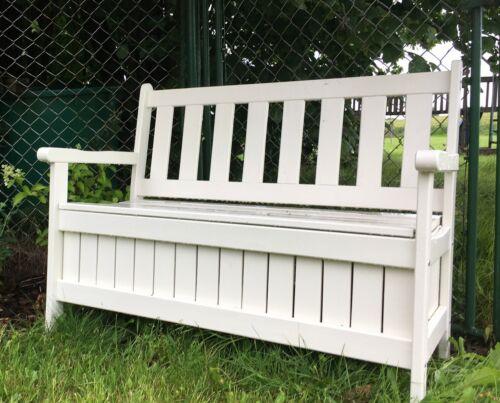 B114 x T56 x H89 cm stabile Bank aus Holz mit Truhe weiß