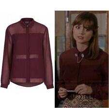 Topshop Cosplay Burgundy Maroon Sheer Panel Chiffon Blouse Shirt - Size 16