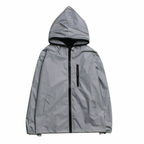 Jacket Coat 3M Safe Men/'s Motorcycle Cycling Night Waterproof Reflective Hoodie