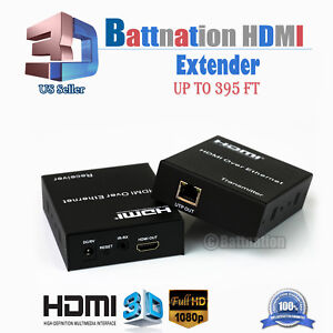 1080P-HDMI-120m-60mExtender-Over-Single-Cable-with-IR-CAT5E-6-Ethernet-RJ45-FHD