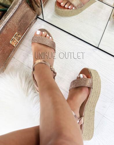 Womens Platform Sandals Ladies Ankle Strap Diamante Espadrille Summer Shoe Size
