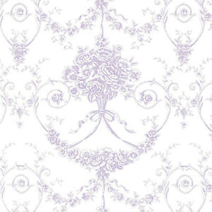 COTTON-SATIN-WEAVE-PRINT-FABRIC-BEDDING-ANTIQUE-FLORAL-DAMASK-PURPLE-44-034-BY-YARD