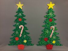 Lot 2 Vintage Melted Plastic Popcorn CHRISTMAS TREES Wall Decoration
