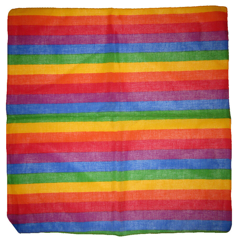 Lot of 3 Thin Small Rainbow Gay Pride Striped 100% Cotton 22