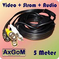 BNC Kombi-Kabel - Video+Audio+Strom + 5 Meter + RG59 + CCTV +Überwachungskamera