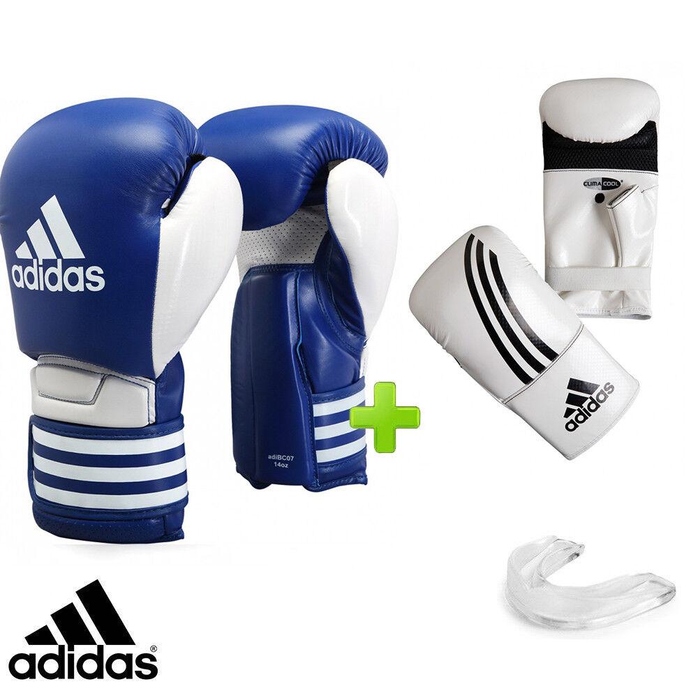 Neu adidas Blau Sparring Boxhandschuhe Set Beinhaltet Tasche Handschuhe & Mundschutz