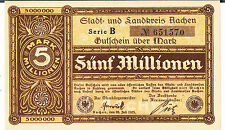 GERMANY NOTGELD Aachen Stadt&Landkreis 5 MILLION MARKS 20.07.1923 AU UNC