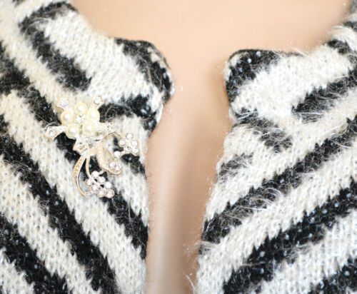 CARDIGAN NERO BIANCO donna maglione aperto spilla manica lunga girocollo G80