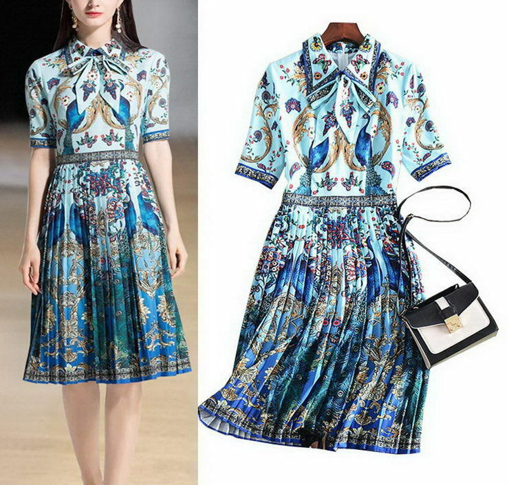 bluee Beaded Collar Peafowl Bow Pleated Dress Evening Working Runway Occident 87b