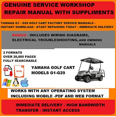 Yamaha Golf Cart G1 TO G29 FACTORY SERVICE REPAIR SHOP