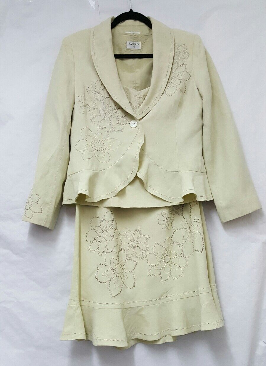 Kaliko 3 Piece Jacket Suit Größe 12 damen Acid Gelb Fit & Flare Skirt Suit