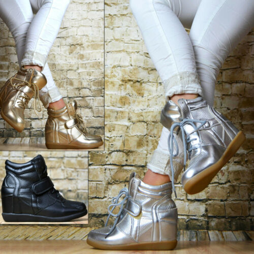 LuXus Sneaker Keilabsatz Wedges Klettverschluss Damenschuhe Sportschuhe Hidden
