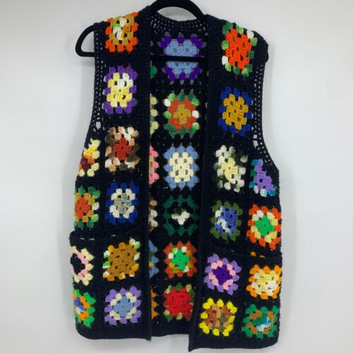 Vintage Crochet vest M/L  granny square cottage co