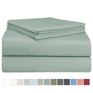 Pizuna 400 Thread Count X-Long Twin Sheets Set Sage, 100% Long Staple Cotton Bed