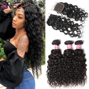 UNice-Brazilian-Virgin-Hair-3-Bundles-with-Closure-Water-Wave-Human-Hair-Weaves