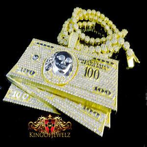 Yellow Gold Finish Men S100 Dollar Bill Cash Money Pendant