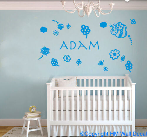 Personalised Name /& Lady bugs Bee Kids Removable wall sticker floral Nursery