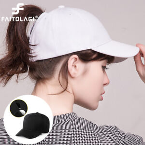 Women-Lady-Cotton-Ponytail-Baseball-Cap-Messy-Bun-Summer-Sun-Hat-Snapback-Caps
