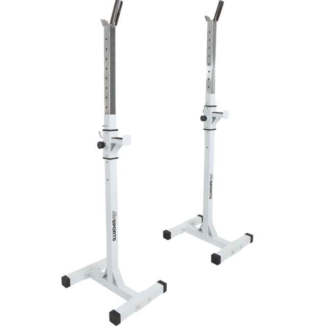 ScSPORTS® Hantelablage Langhantel Ständer Ablage Rack Kniebeugenständer Weiß