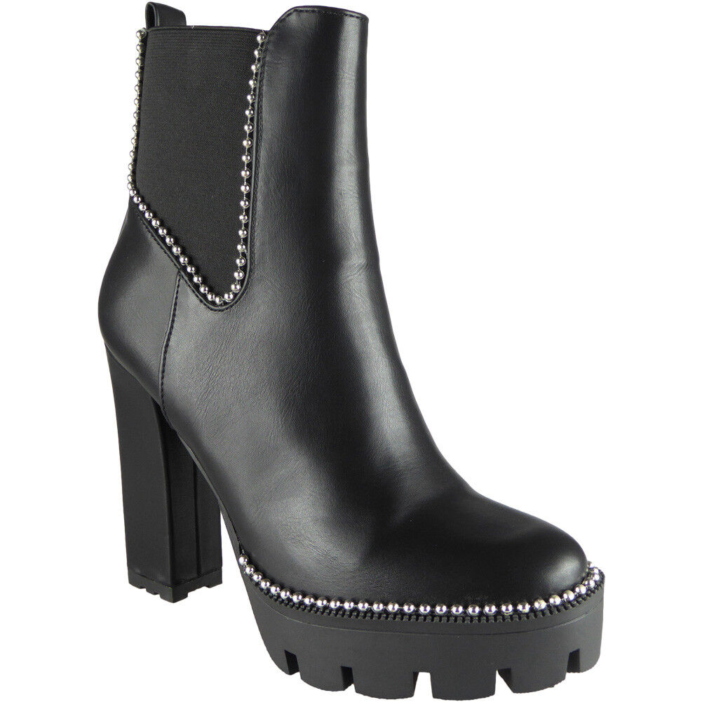 Womens Rihanna High Heel Ankle Chelsea Boot Cleated Sole Elasticated Sides Black