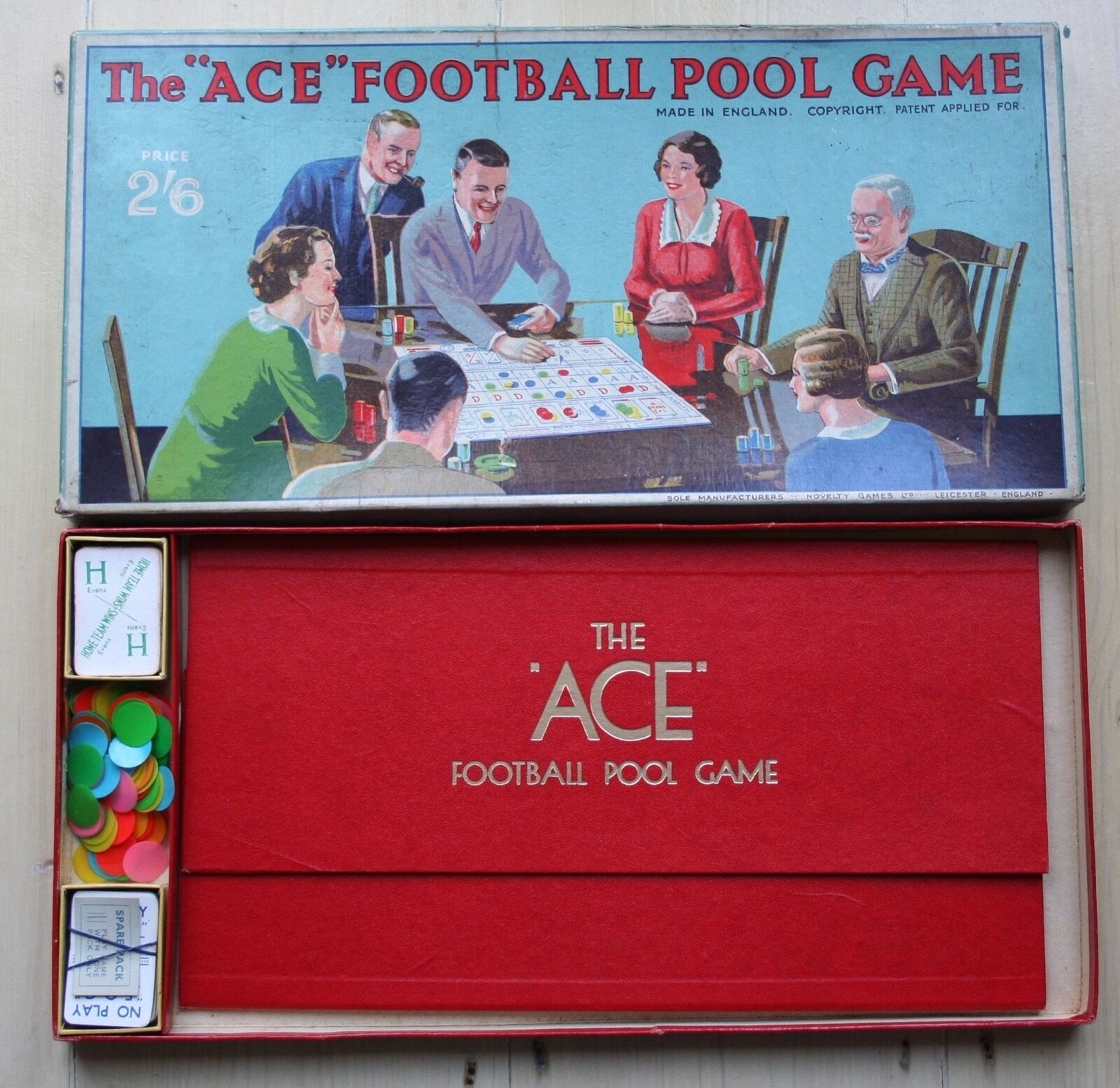 RARE - THE ACE FOOTBALL POOL GAME - NOVELTY GAMES LTD - c1938