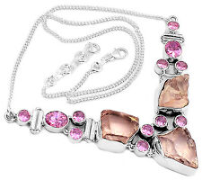 28g Morganite Rough & Pink Kunzite 925 Sterling Silver Necklace Jewelry SN15723
