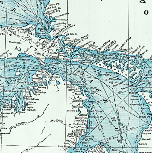 Great Lakes including Canals and Tributary Navigable Streams Map Poster Print