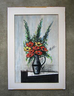 Ancien Superbe Pastel Tableau Bouquet De Fleurs 1950 Signe Style Bernard Buffet Ebay