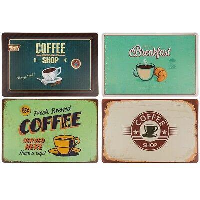 """Polypropylen-tischset Platzset Untersetzer """"coffee"""" - Ca. 44 X 29 Cm - 4er-set Einfach Zu Verwenden"""