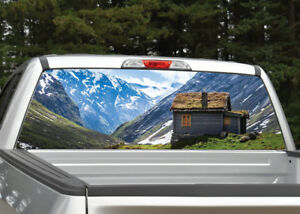 062d9b7a7f Image is loading Mountain-Scene-Cabin-Winter-Landscape-Rear-Window-Decal-