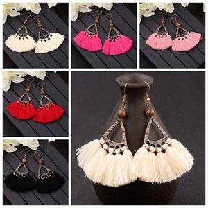 Women-Vintage-Bohemian-Boho-Tassel-Colorful-Wooden-Beads-Dangle-Stud-Earrings