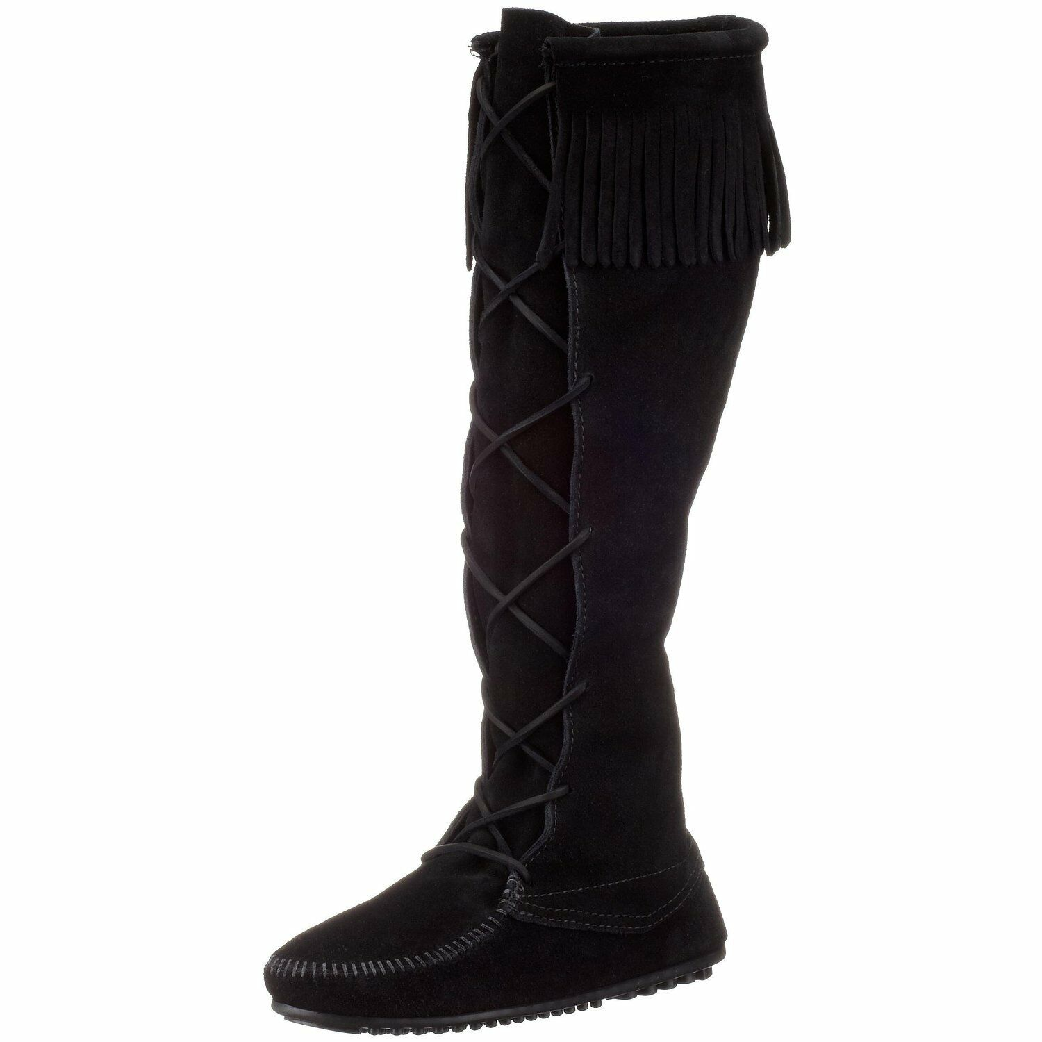 Women's Women's Women's Minnetonka Front Lace Knee-High Boot Black 1429 bc2da3
