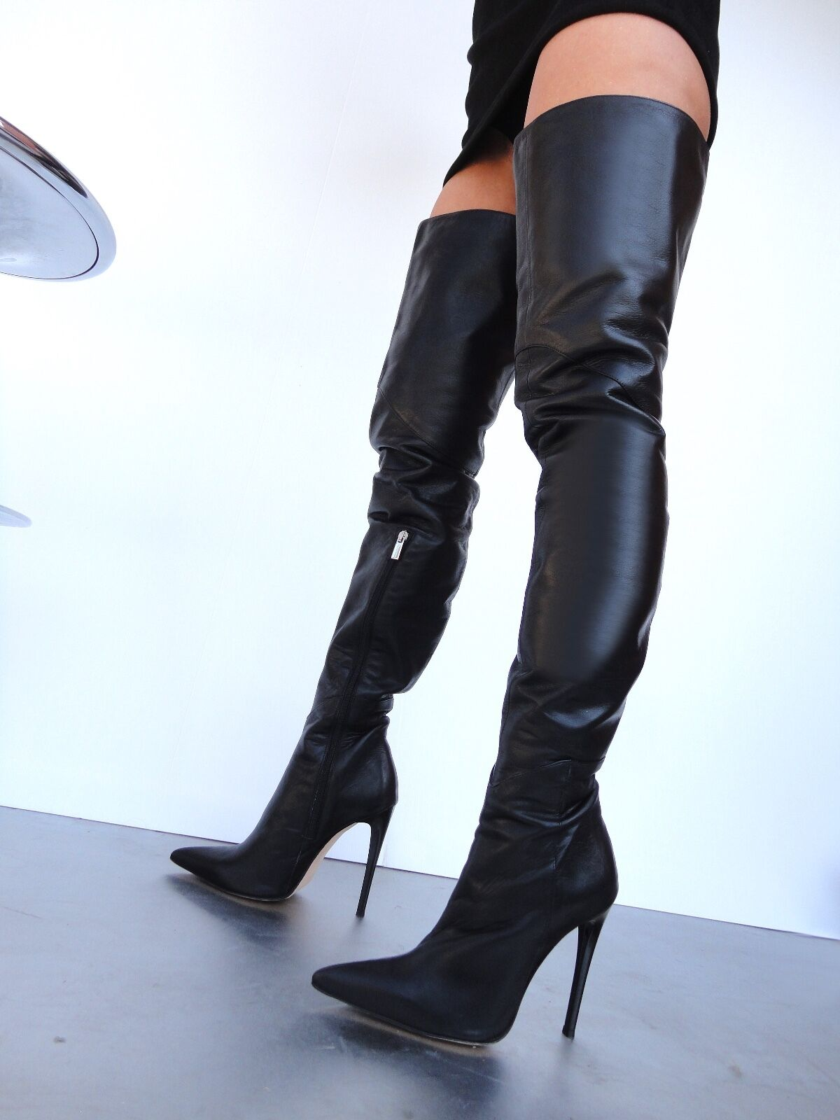 CQ COUTURE CUSTOM LUXURY BOOTS OVERKNEE BOOTS LUXURY STIEFEL STIVALI SHOES LEATHER NERO 42 ae5107