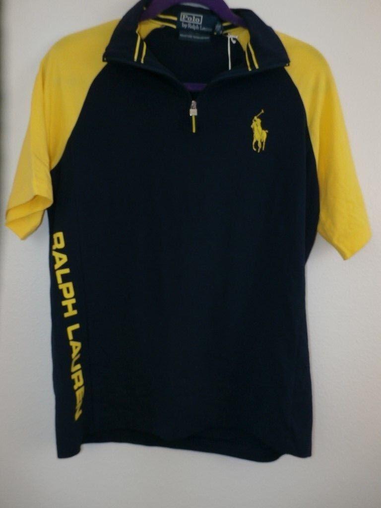 Ralph Lauren Polo Shirt Men SM US Open Tennis bluee Yellow Jersey Tee