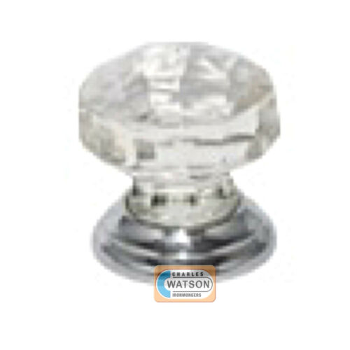 Glass Cupboard Door Knob 30mm Faceted Handle Chrome Plated Backplate