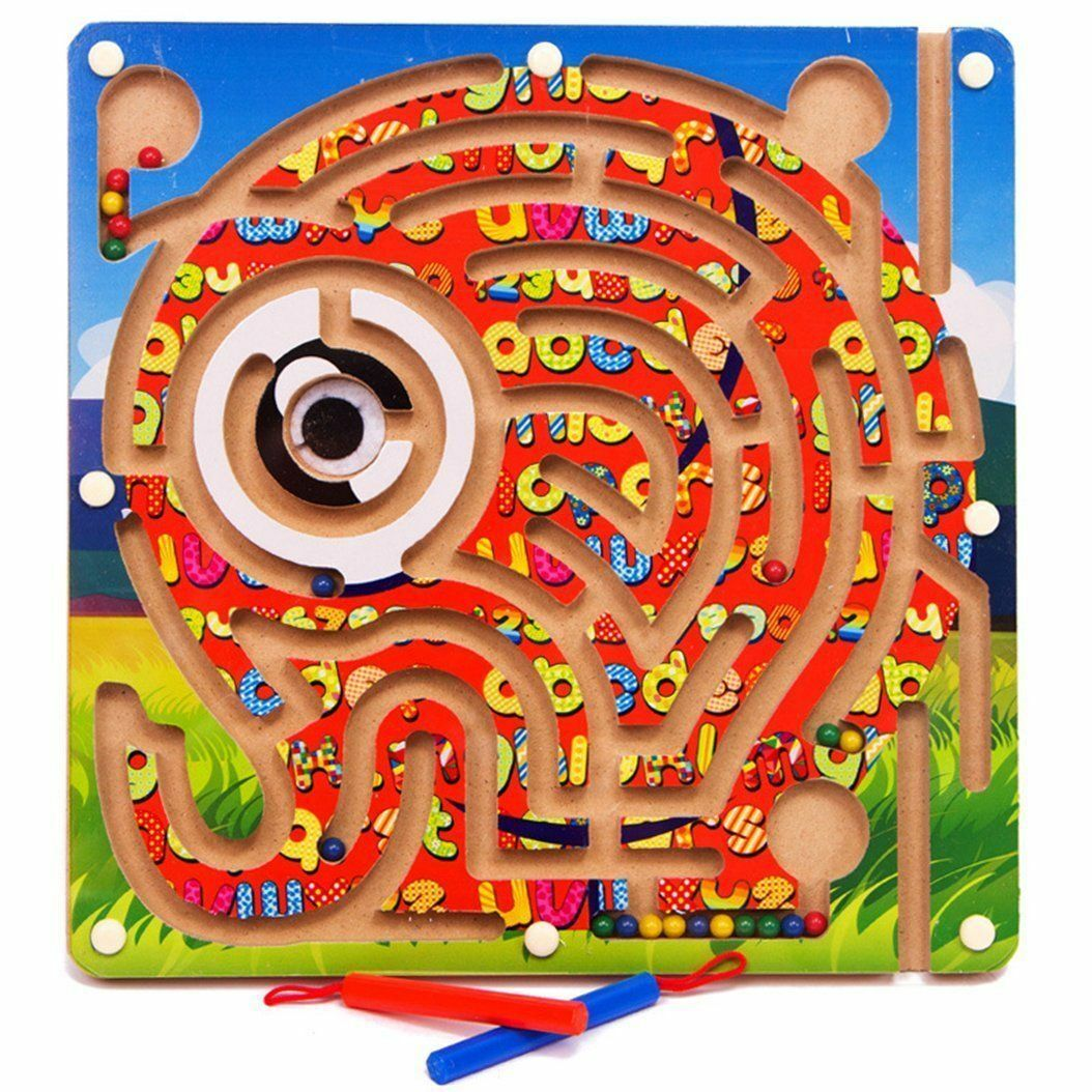G4RCE Magnetic Pen Driving Wooden Bead Maze Puzzle Elephant Educational Puzzle
