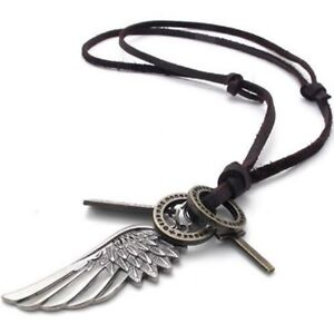 Schmuck-Herren-Damen-Halskette-Engel-Fluegel-Kreuz-Anhaenger-mit-Leder-Kette-DQ