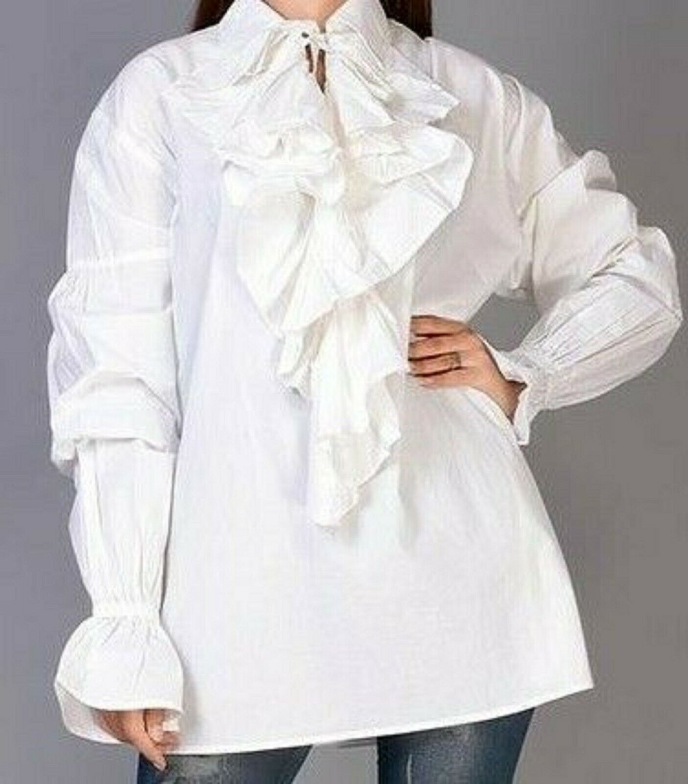 gothic medieval period costume shirt cosplay Halloween playrole 42-46