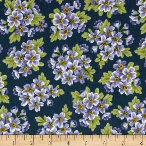Windham Fabrics Dover FLANNEL ~ Packed Floral Navy Blue ~ Lilac Flowers Bouquet
