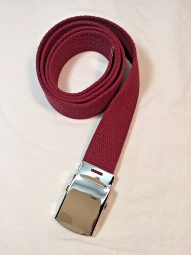 "Made in the USA Men/'s Burgundy Cotton Fabric Web Belt 1.25/"" x 48/"" New"